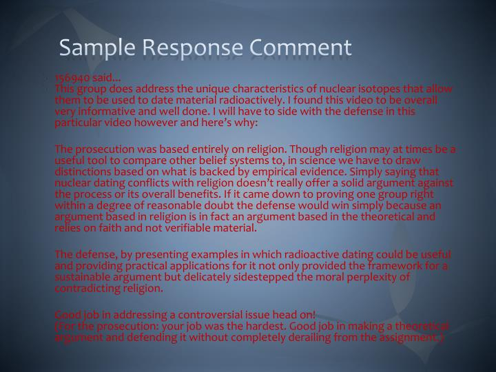 Sample Response Comment
