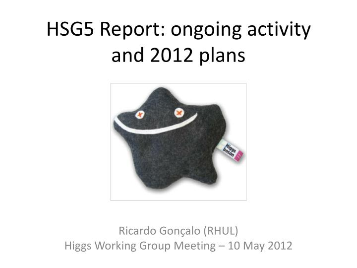 hsg5 report ongoing activity and 2012 plans