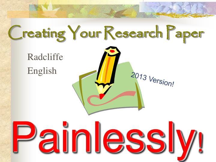 Creating your research paper