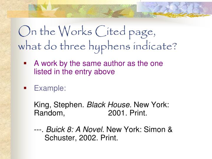 On the Works Cited page,