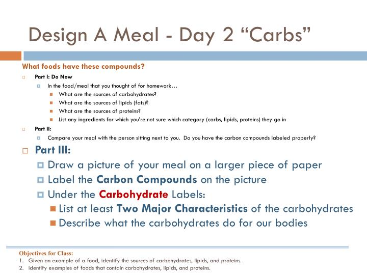 Design A Meal - Day 2 ""