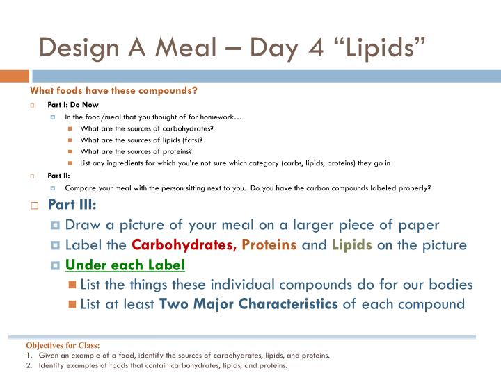 "Design A Meal – Day 4 ""Lipids"""