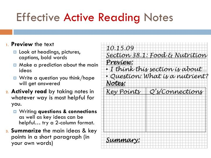 Effective active reading notes