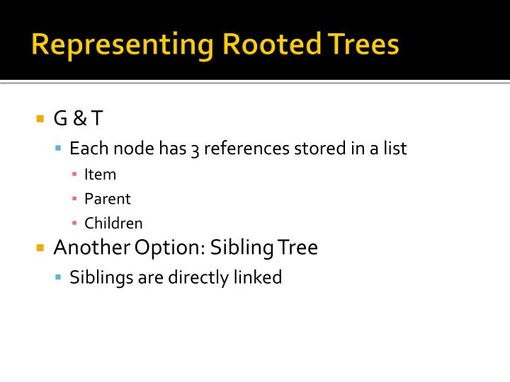 Representing Rooted Trees