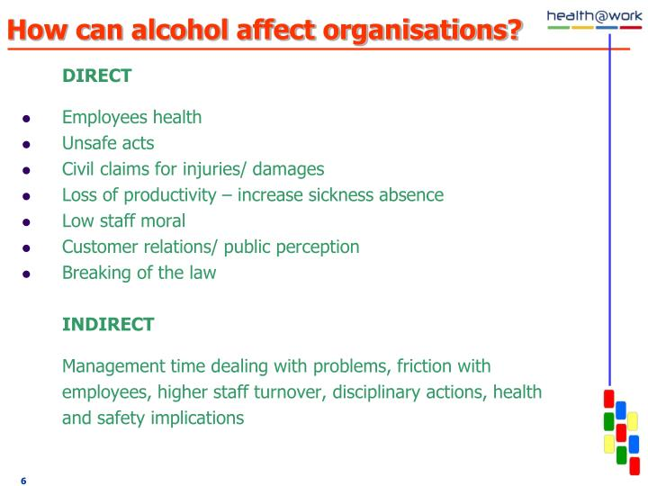How can alcohol affect organisations?
