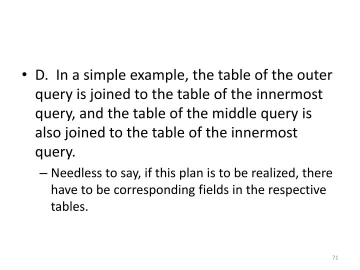 D.  In a simple example, the table of the outer query is joined to the table of the innermost query, and the table of the middle query is also joined to the table of the innermost query.