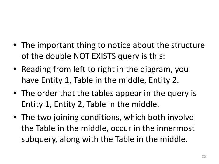 The important thing to notice about the structure of the double NOT EXISTS query is this: