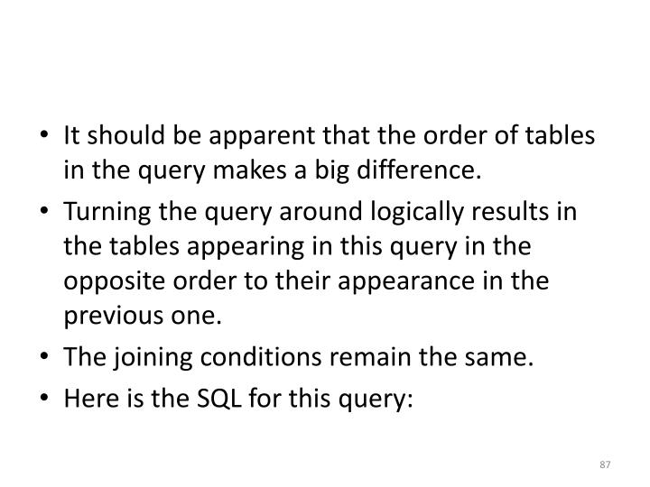 It should be apparent that the order of tables in the query makes a big difference.