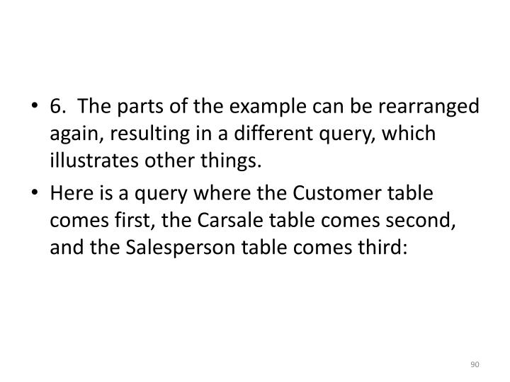 6.  The parts of the example can be rearranged again, resulting in a different query, which illustrates other things.