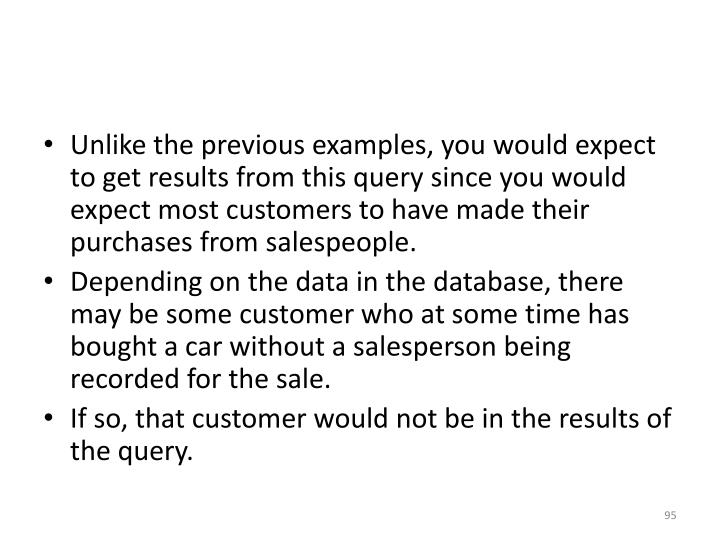 Unlike the previous examples, you would expect to get results from this query since you would expect most customers to have made their purchases from salespeople.