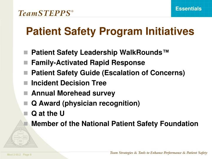Patient Safety Program Initiatives
