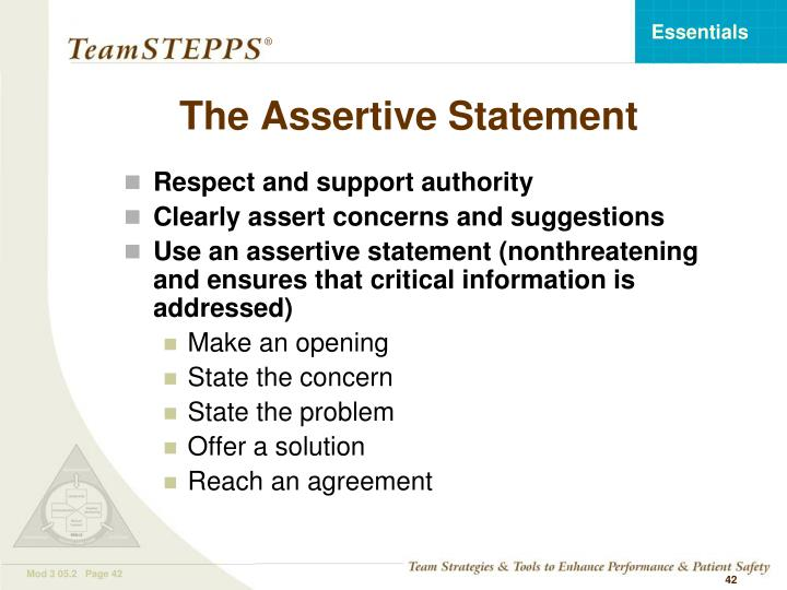 The Assertive Statement