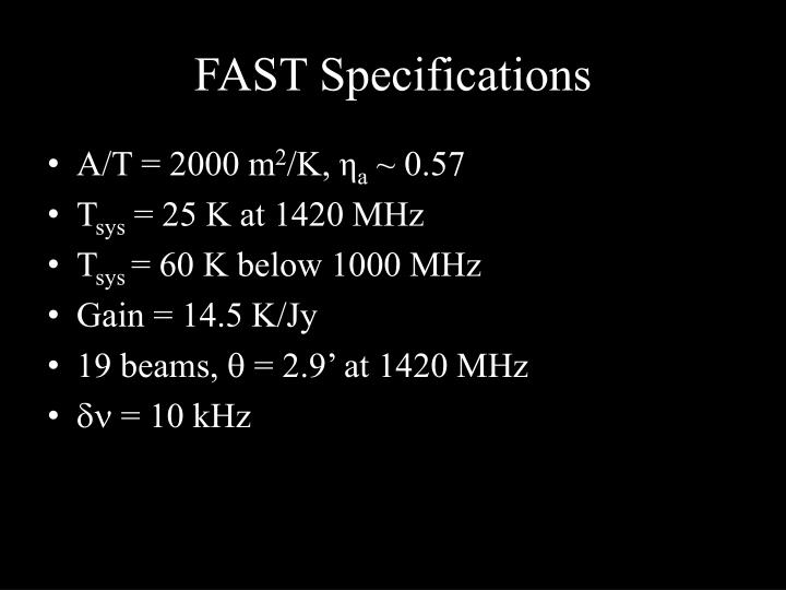 Fast specifications