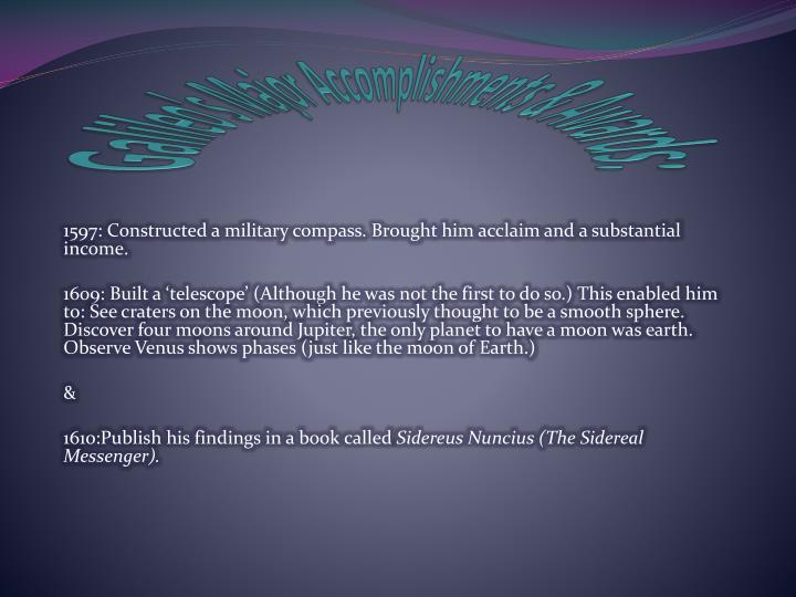 Galileo's Major Accomplishments & Awards: