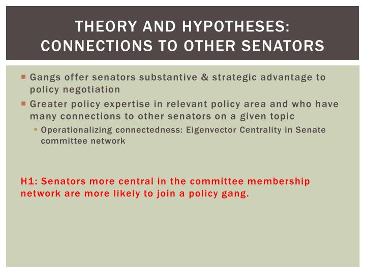 Theory and hypotheses: Connections to other senators