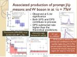 associated production of prompt j mesons and w boson in at s 7tev