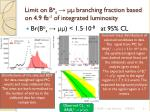 limit on b o s branching fraction based on 4 9 fb 1 of integrated luminosity