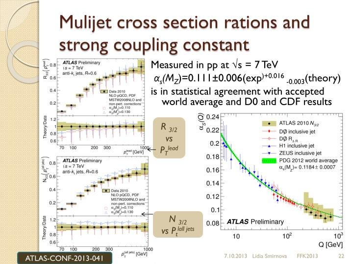 Mulijet cross section rations and strong coupling constant