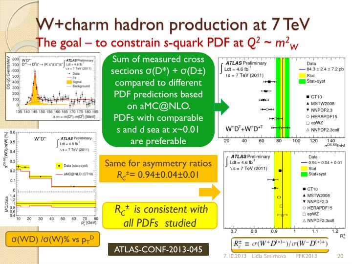 W+charm hadron production at 7 TeV