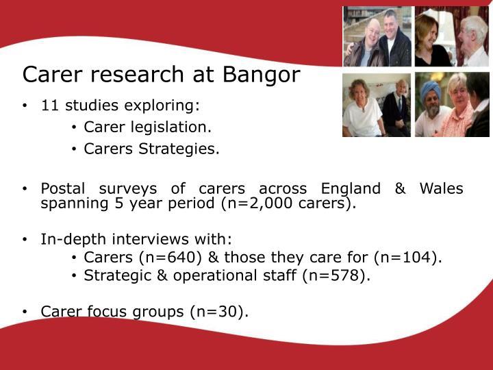 Carer research at Bangor