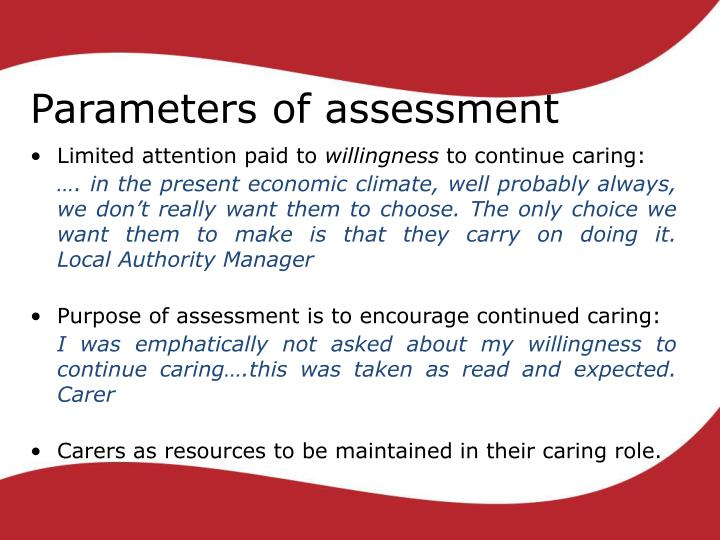 Parameters of assessment