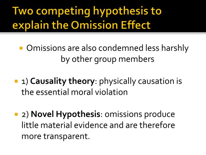 Two competing hypothesis to explain the Omission Effect