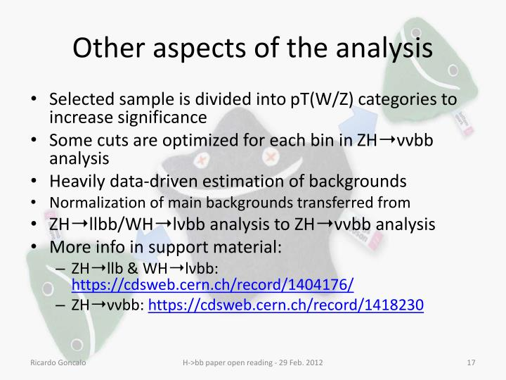 Other aspects of the analysis