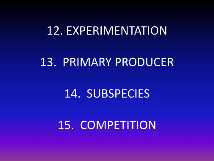 12. EXPERIMENTATION