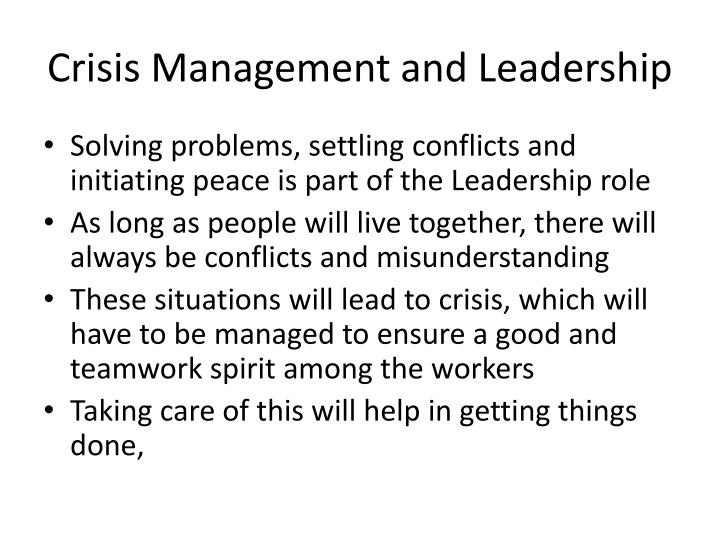 Crisis Management and Leadership