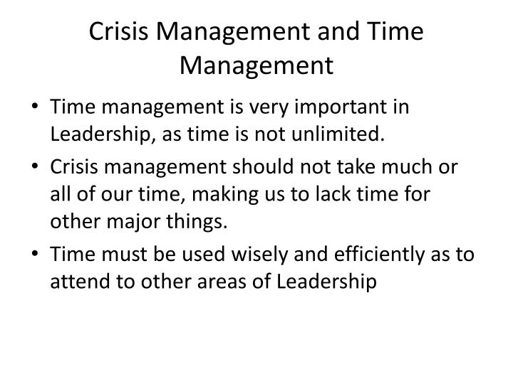 Crisis Management and Time Management