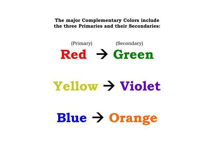 The major Complementary Colors include