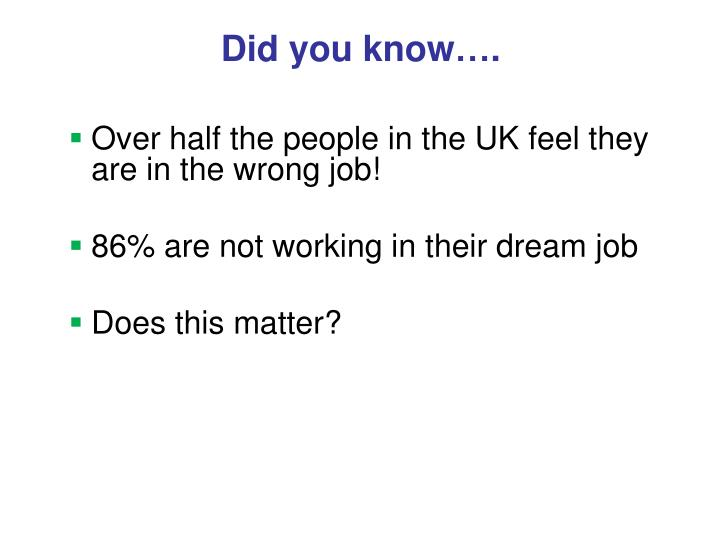 Did you know….