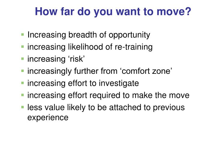 How far do you want to move?
