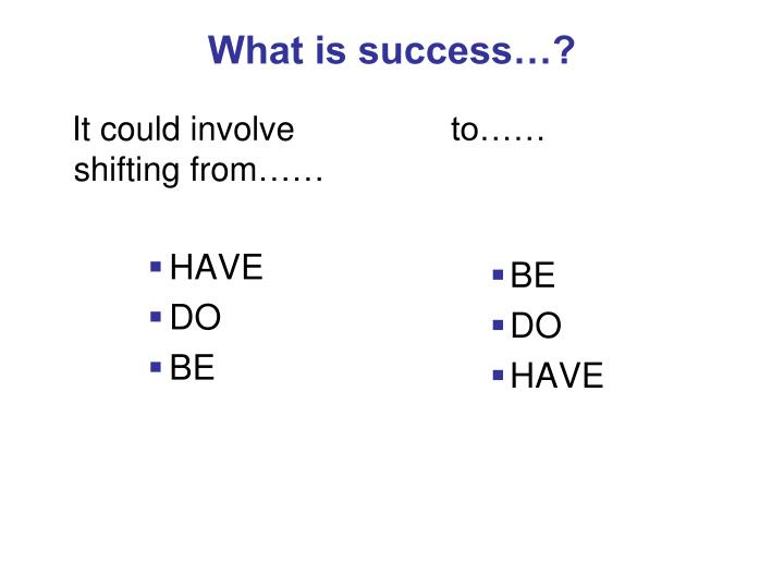 What is success…?