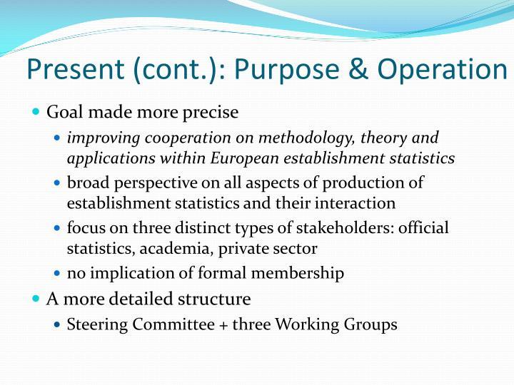Present (cont.): Purpose & Operation