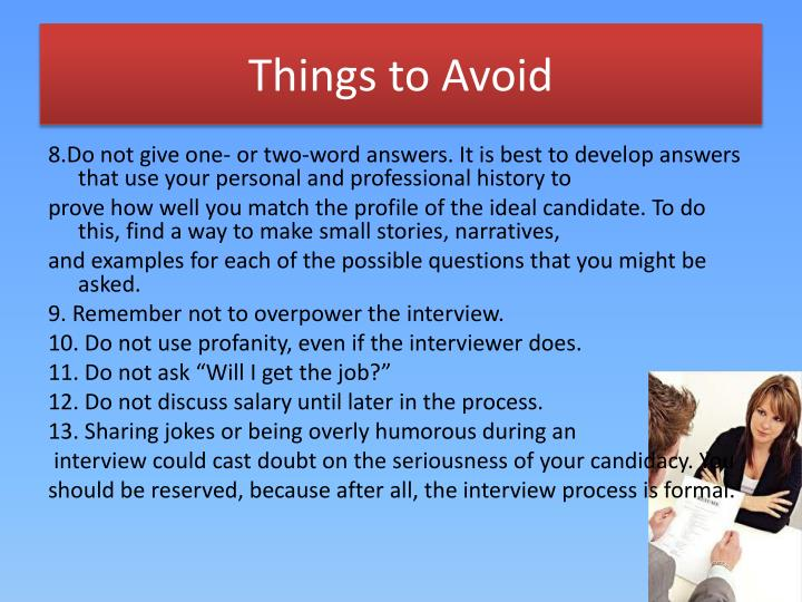 Things to Avoid