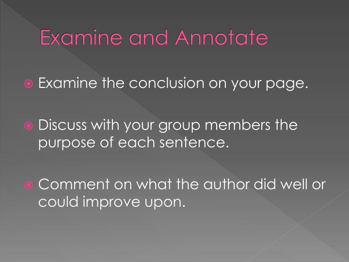 Examine and Annotate