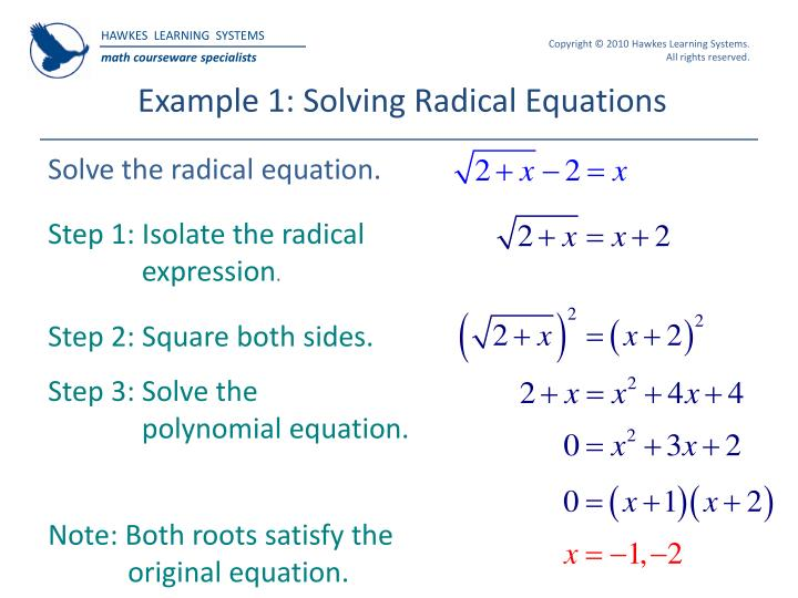 Example 1: Solving Radical Equations