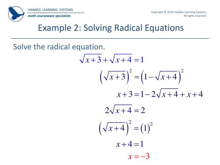 Example 2: Solving Radical Equations