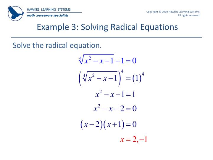 Example 3: Solving Radical Equations