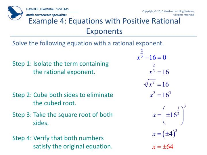 Example 4: Equations with Positive Rational Exponents