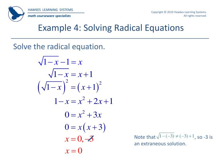 Example 4: Solving Radical Equations