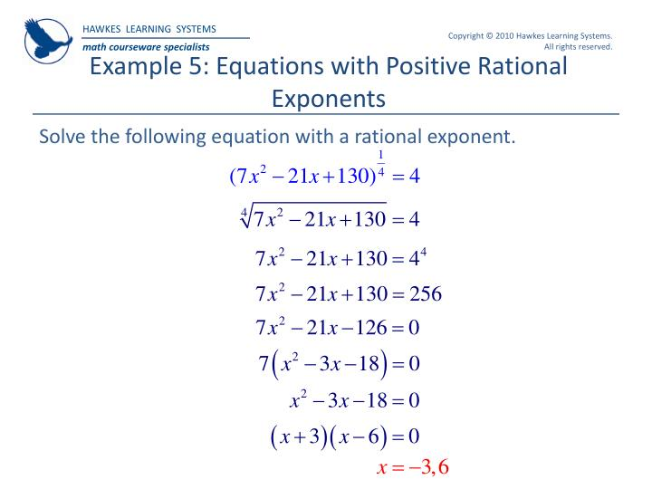 Example 5: Equations with Positive Rational Exponents