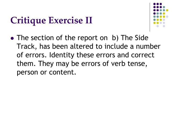 Critique Exercise II