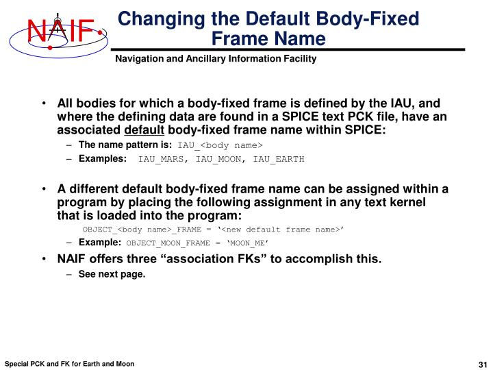 Changing the Default Body-Fixed Frame Name