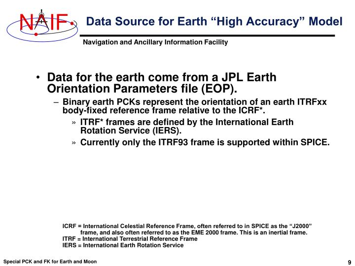 "Data Source for Earth ""High Accuracy"" Model"
