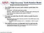 high accuracy earth rotation model