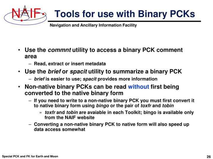 Tools for use with Binary PCKs