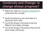 continuity and change is change always progress