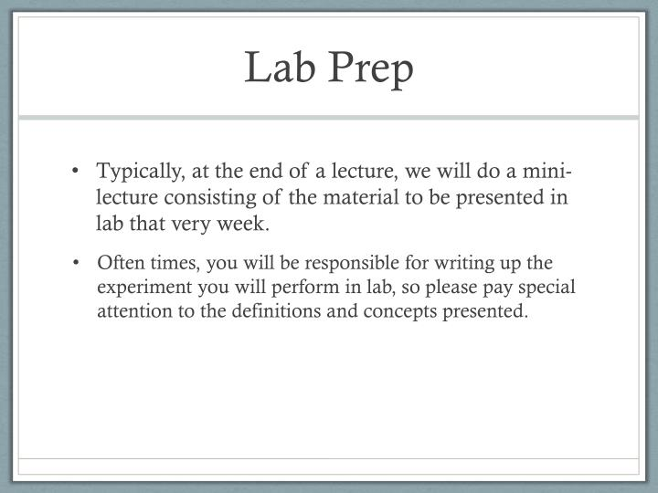 Lab Prep